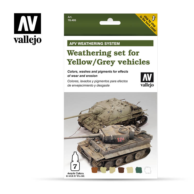 Weathering Set for Yellow Grey vehicles vallejo afv 78405