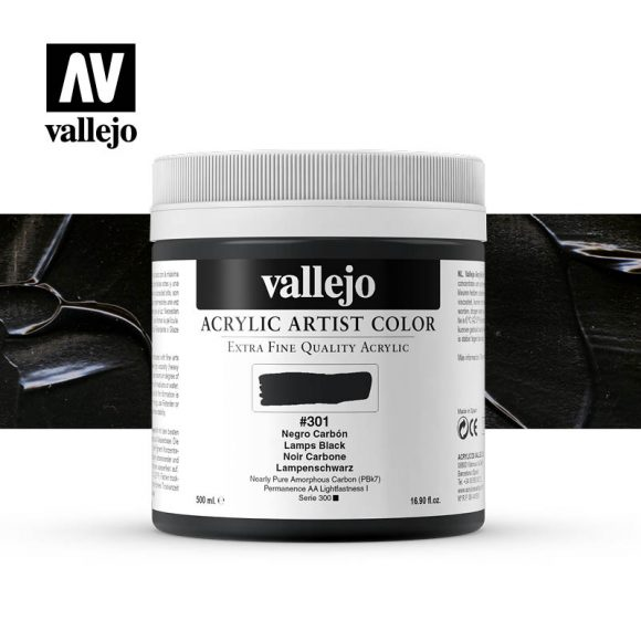 acrylic artist color vallejo lamps black 301 500ml