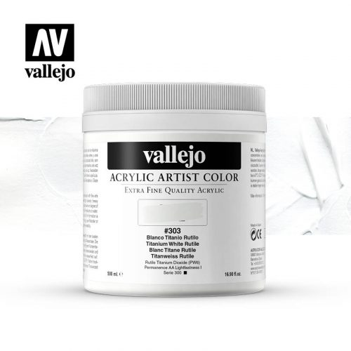 acrylic artist color vallejo titanium white rutile 303 500ml