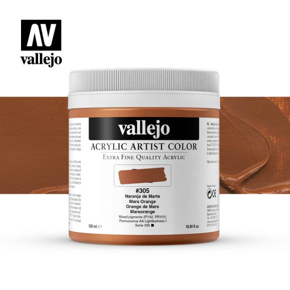 acrylic artist color vallejo mars orange 305 500ml