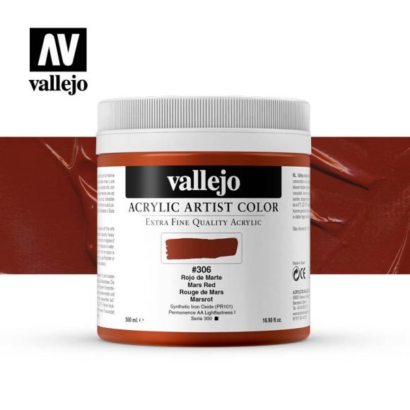 acrylic artist color vallejo mars red 306 500ml