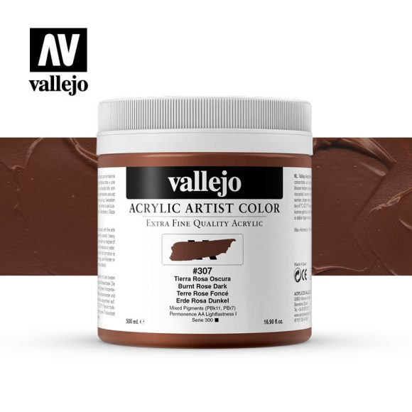 acrylic artist color vallejo burnt rose dark 307 500ml