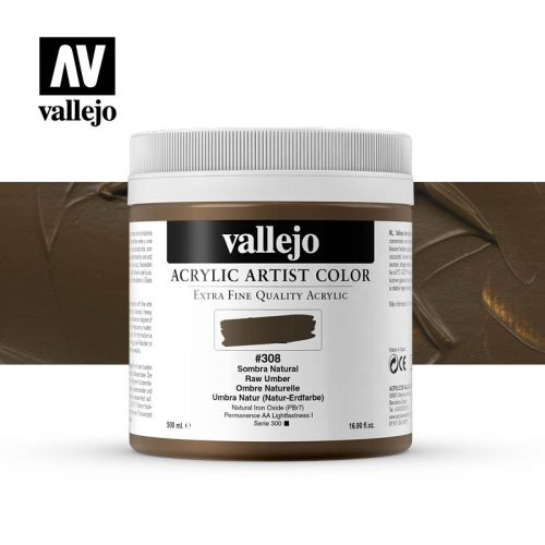 acrylic artist color vallejo raw umber 308 500ml