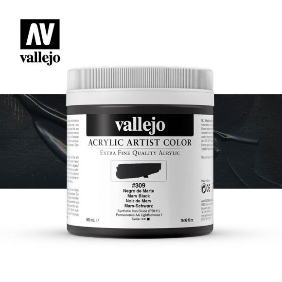 acrylic artist color vallejo mars black 309 500ml
