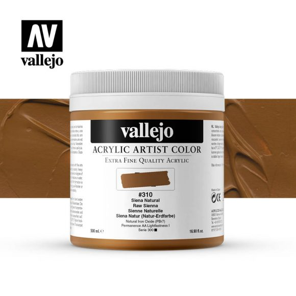 acrylic artist color vallejo raw sienna 310 500ml
