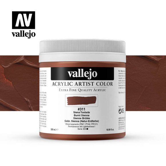 acrylic artist color vallejo burnt sienna 311 500ml
