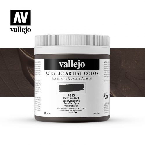 acrylic artist color vallejo van dyck brown 313 500ml