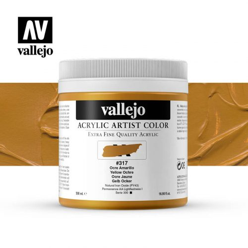 acrylic artist color vallejo yellow ochre 317 500ml