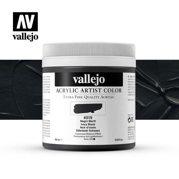 acrylic artist color vallejo ivory black 319 500ml