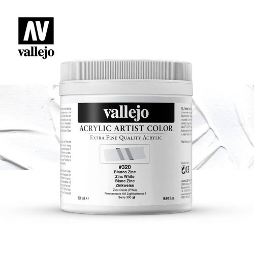 acrylic artist color vallejo zinc white 320 500ml
