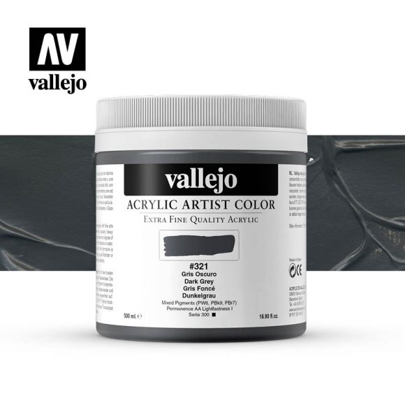 acrylic artist color vallejo dark grey 321 500ml