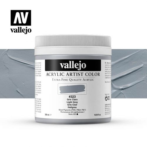 acrylic artist color vallejo light grey 323 500ml