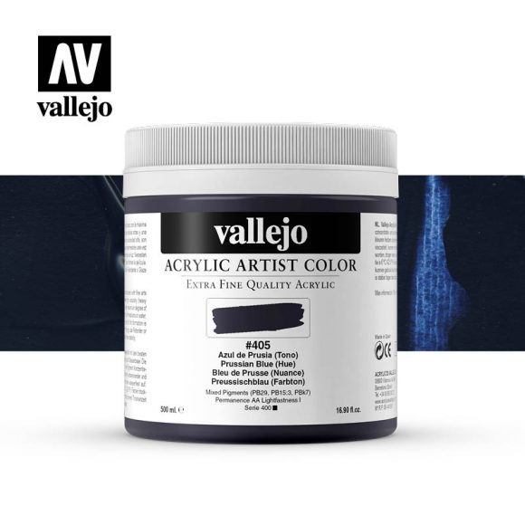 acrylic artist color vallejo prussian blue hue 405 500ml
