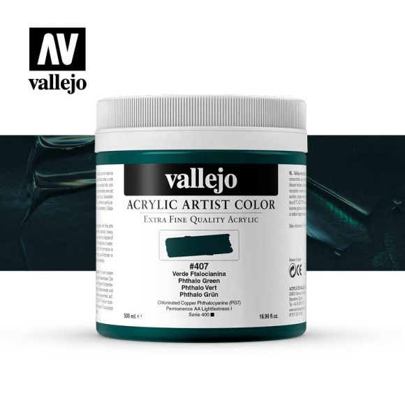 acrylic artist color vallejo phthalo green 407 500ml