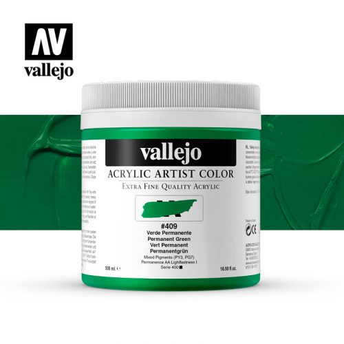 acrylic artist color vallejo permanent green 409 500ml