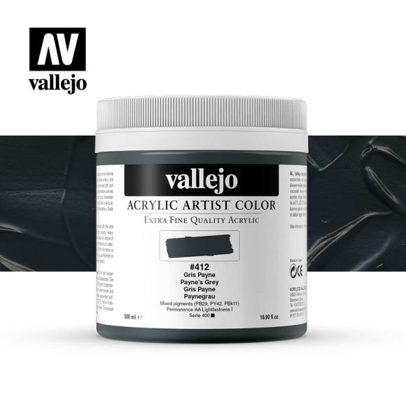 acrylic artist color vallejo paynes grey 412 500ml