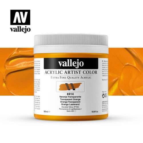 acrylic artist color vallejo transparent orange 414 500ml