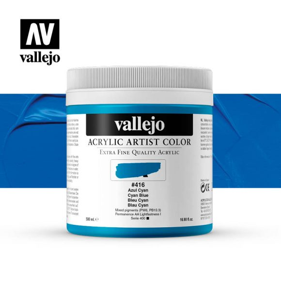 acrylic artist color vallejo cyan blue 416 500ml