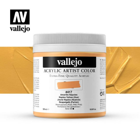 acrylic artist color vallejo naples yellow hue 417 500ml
