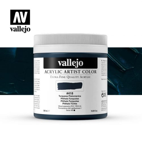 acrylic artist color vallejo phthalo turquoise 418 500ml