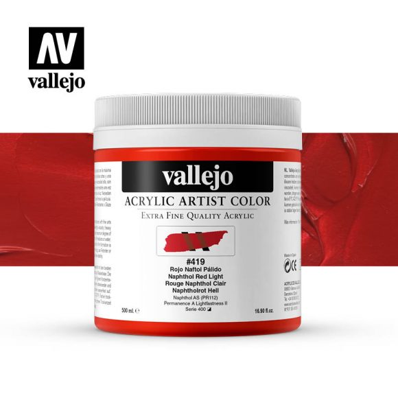 acrylic artist color vallejo naphthol red light 419 500ml