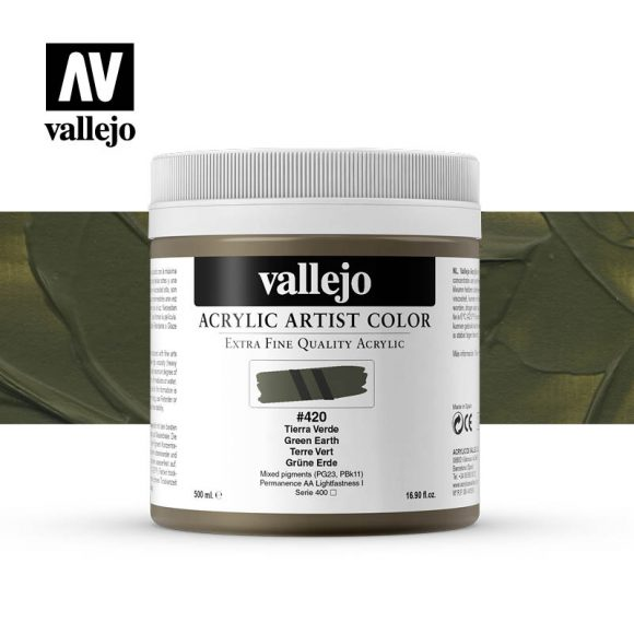 acrylic artist color vallejo green earth 420 500ml