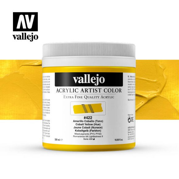 acrylic artist color vallejo cobalt yellow hue 422 500ml