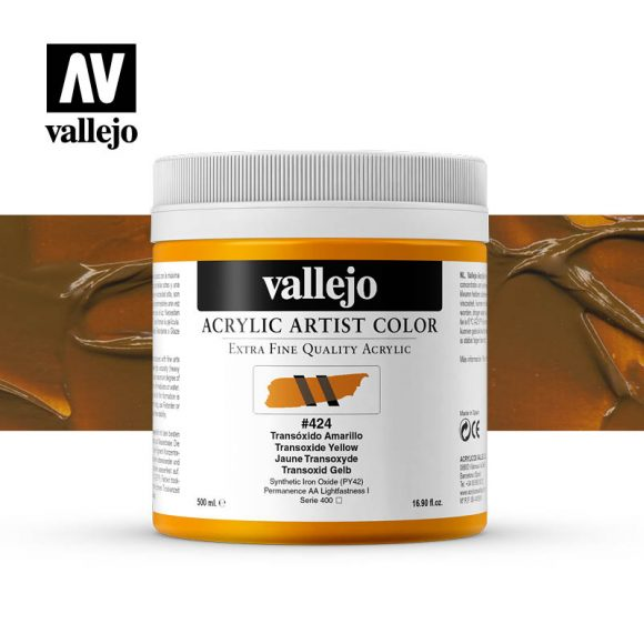 acrylic artist color vallejo transoxide yellow 424 500ml