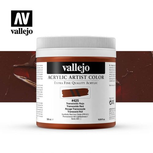 acrylic artist color vallejo transoxide red 425 500ml