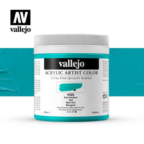 acrylic artist color vallejo teal 426 500ml