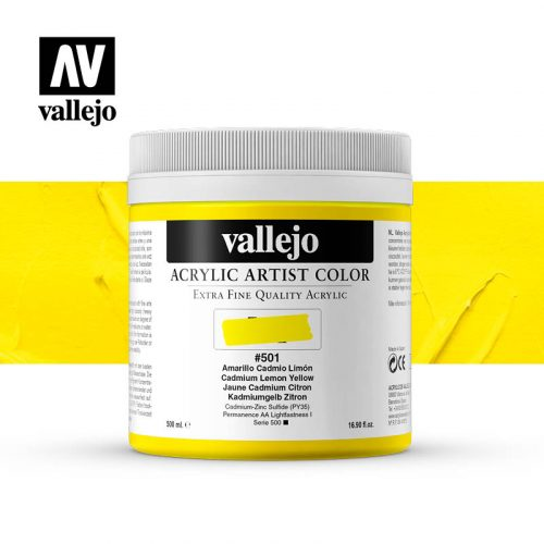 acrylic artist color vallejo cadmium lemon yellow 501 500ml