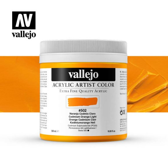 acrylic artist color vallejo cadmium orange light 502 500ml