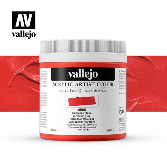 acrylic artist color vallejo vermilion hue 509 500ml