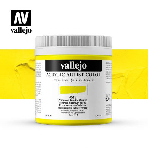 acrylic artist color vallejo primrose cadmium yellow 515 500ml