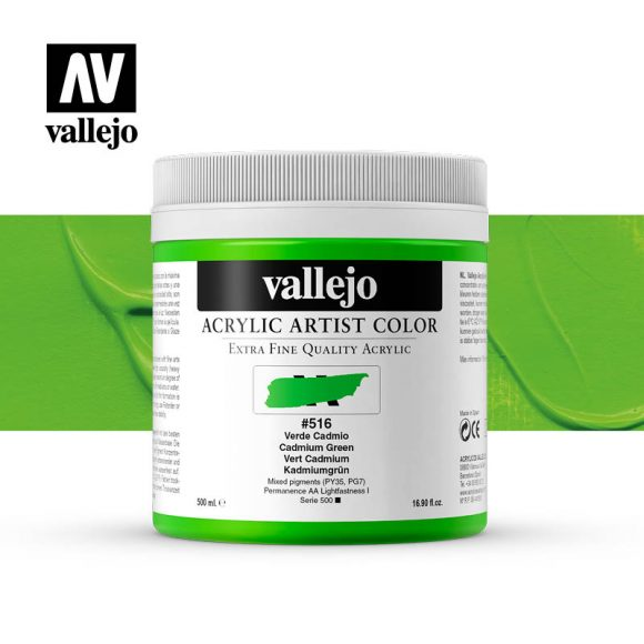 acrylic artist color vallejo cadmium green 516 500ml