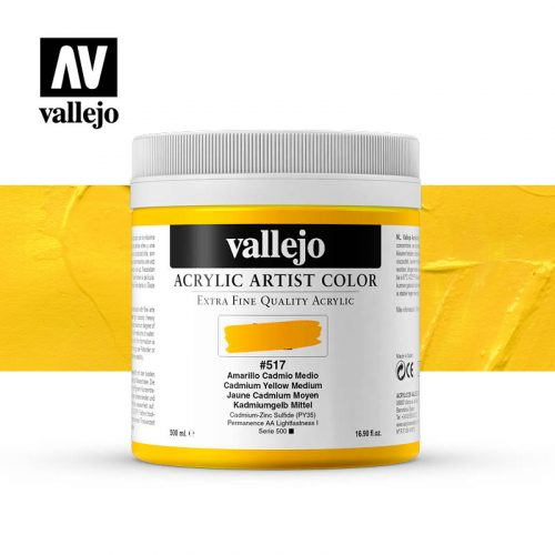 acrylic artist color vallejo cadmium yellow medium 517 500ml