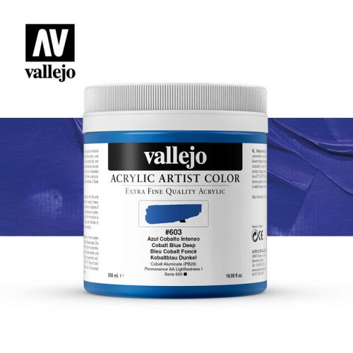 acrylic artist color vallejo cobalt blue deep 603 500ml