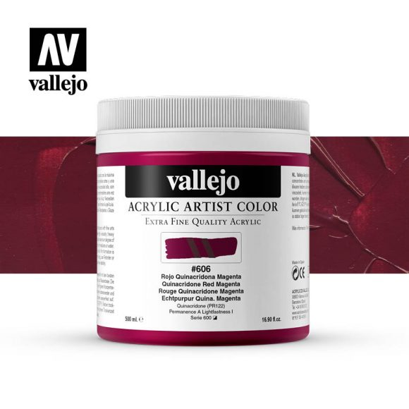 acrylic artist color vallejo quinacridone red magenta 606 500ml