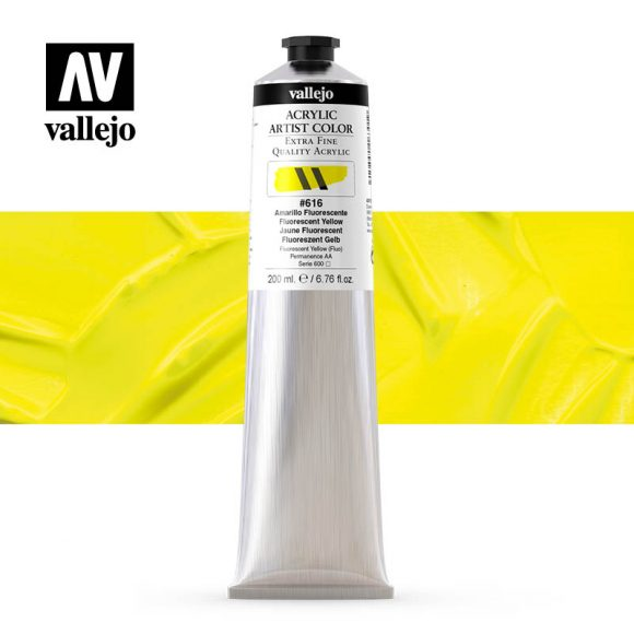 acrylic artist color vallejo fluorescent yellow 616 200ml