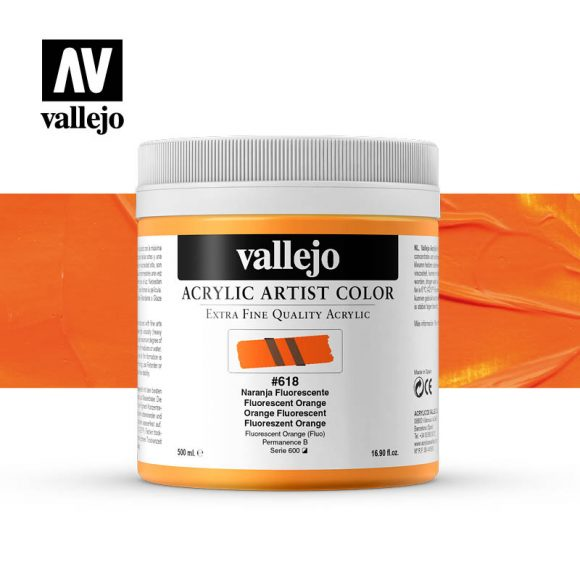 acrylic artist color vallejo fluorescent orange 618 500ml