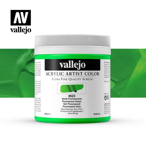 acrylic artist color vallejo fluorescent green 623 500ml