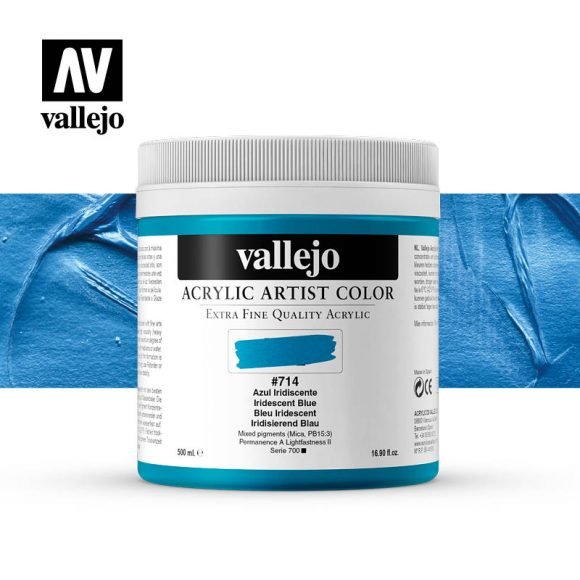 acrylic artist color vallejo iridescent blue 714 500ml