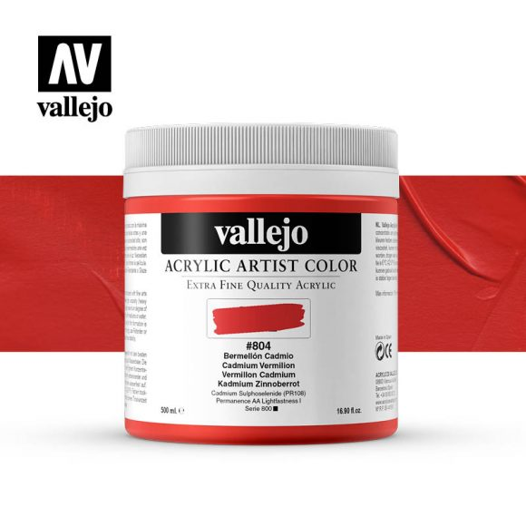 acrylic artist color vallejo cadmium vermilion 804 500ml