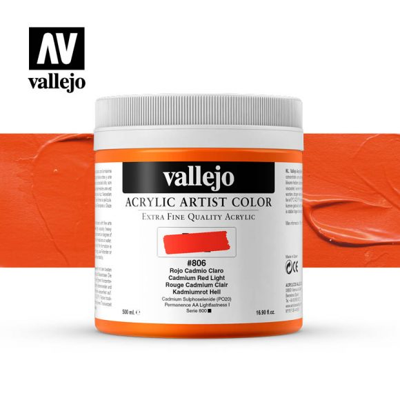 acrylic artist color vallejo cadmium red light 806 500ml