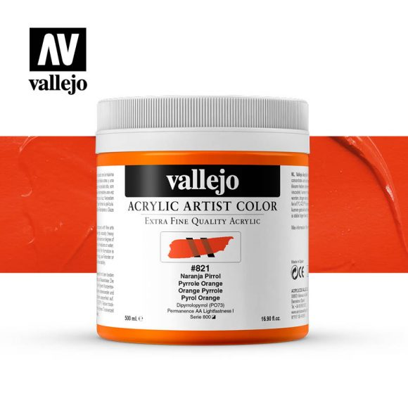 acrylic artist color vallejo pyrrole orange 821 500ml