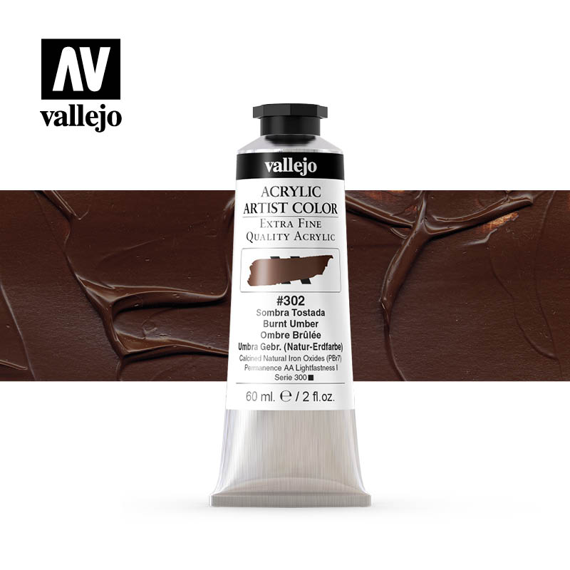 Vallejo Acrylic Artist Color Burnt Umber 302