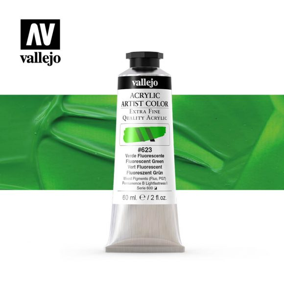 acrylic artist color vallejo fluorescent green 623 60ml