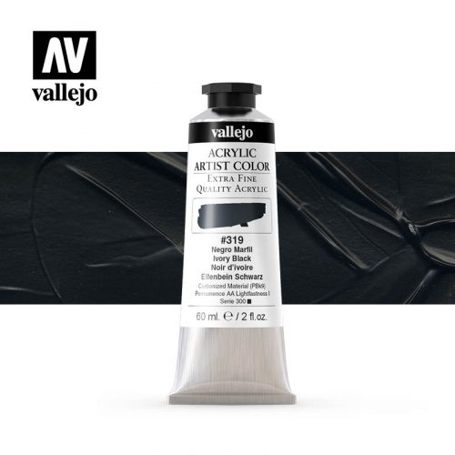 acrylic artist color vallejo ivory black 319 60ml