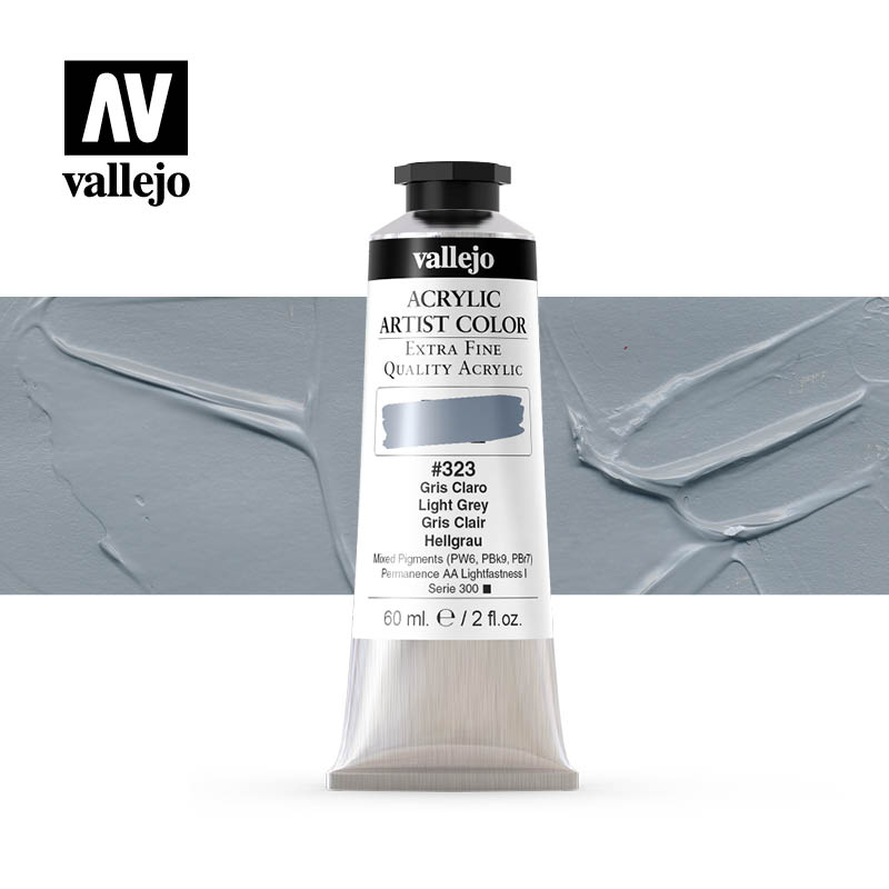 acrylic artist color vallejo light grey 323 60ml