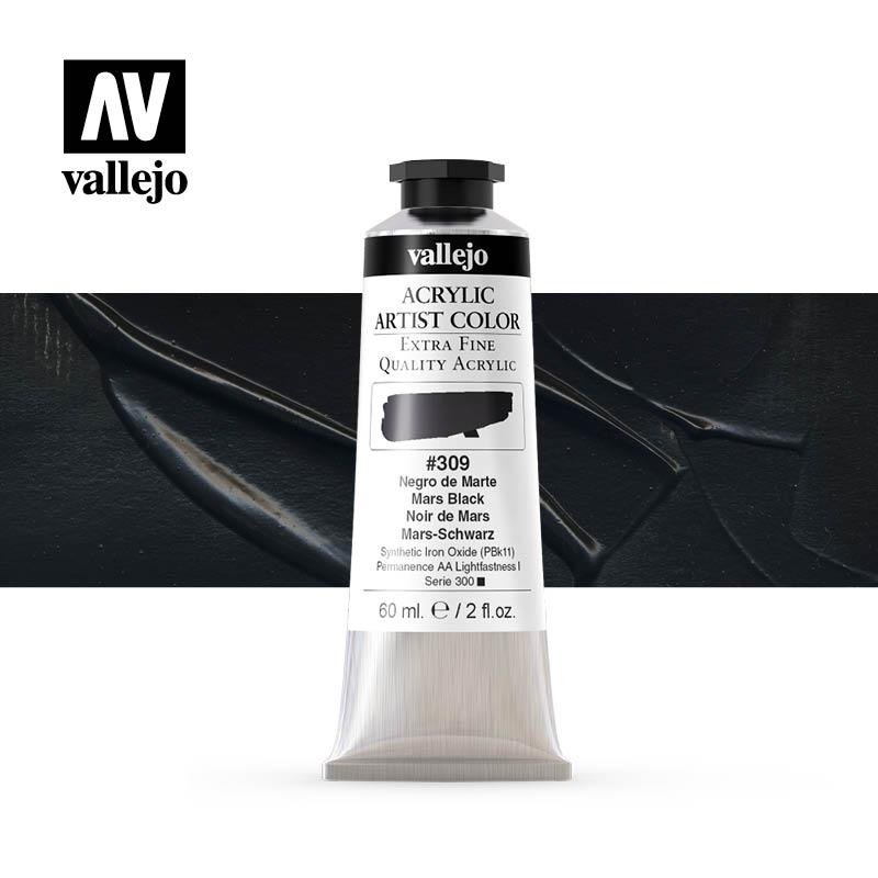 acrylic artist color vallejo mars black 309 60ml